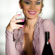 Smiling girl with wineglass — Stock Photo