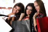 Trzy dziewczyny z torby — Zdjęcie stockowe