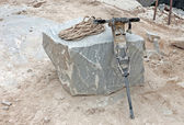 Pneumatic drill in marble quarry — Stockfoto