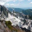 Scenic Italy - Carrara marble quarries and coast - Stock Photo