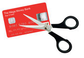 Generic plastic card with scissors - isolated — Stock Photo