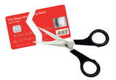 Cutting up the plastic card - isolated — Stock Photo