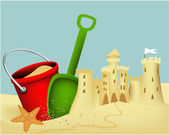Sand castle building — Stock Vector