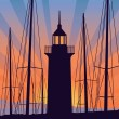 Lighthouse at the sunrise — Stock Vector
