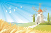 Rural landscape with windmill — Stock Vector
