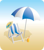 Beach chair and sunshade — Stock Vector