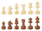 Chess pieces isolated on white — Stock Vector