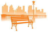 Park bench on the city background — Stock Vector