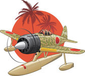 Japanese WW2 seaplane — Stock Vector