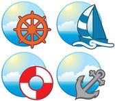 Icone nautiche — Vettoriale Stock