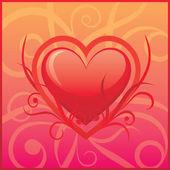 çiçek arka planda vektör kalp — Stok Vektör