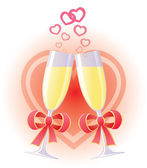 Wedding toast with champagne — Stock Vector