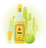 Tequila bottle with cup and lime — Stock Vector