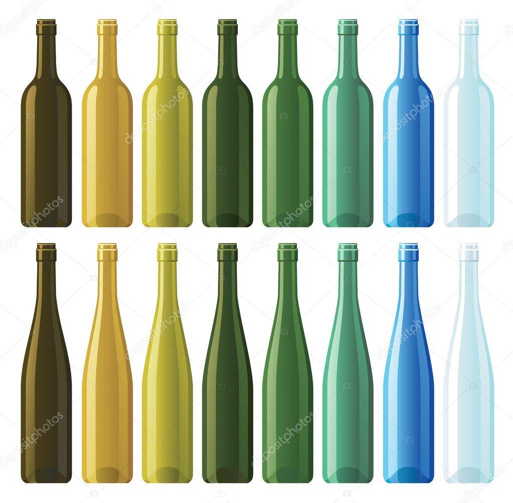 Assorted Empty Wine Bottles Stock Vector