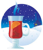 Mulled wine on the winter background — Stock Vector