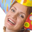 Happy woman in three party hats — Stock Photo #2843849