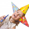 Woman in three party hats — Stock Photo #2844040