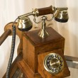 Retro wooden telephone - Foto Stock