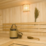 Sauna. Bucket, cup and ladle — Stock Photo