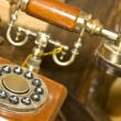 Retro wooden telephone - Stock Photo