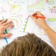 Drawing business diagrams — Stock Photo