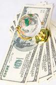 Glass globe and dollars — Stock Photo
