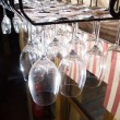 Wineglasses in rack — Stock Photo