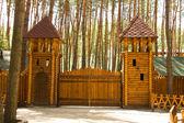 Big wood gates — Stock Photo