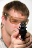 Aiming gunman — Stock Photo