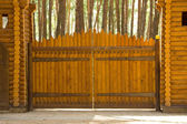 Big wood gates — Stock Photo
