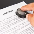 Examination of the business agreement - Stock Photo
