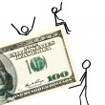 Drawn businessmen with money — Stock Photo