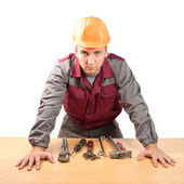 Working man with tools — Stock Photo