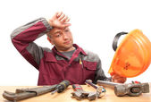 累了的工作的人与工具 — 图库照片