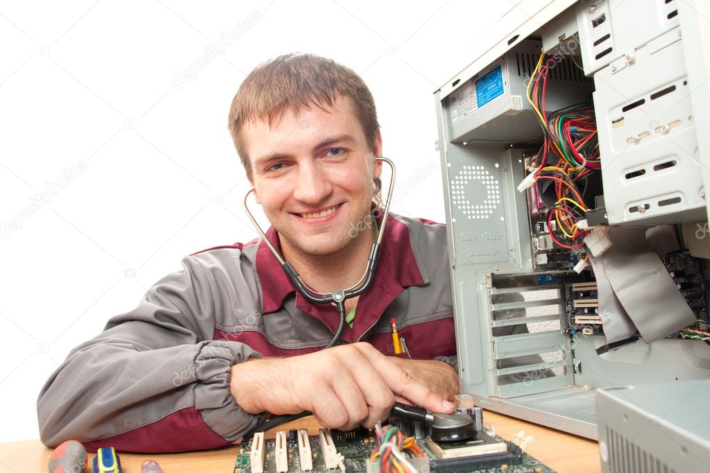Computer support engineer. Isolated on white  Stock Photo #3605683