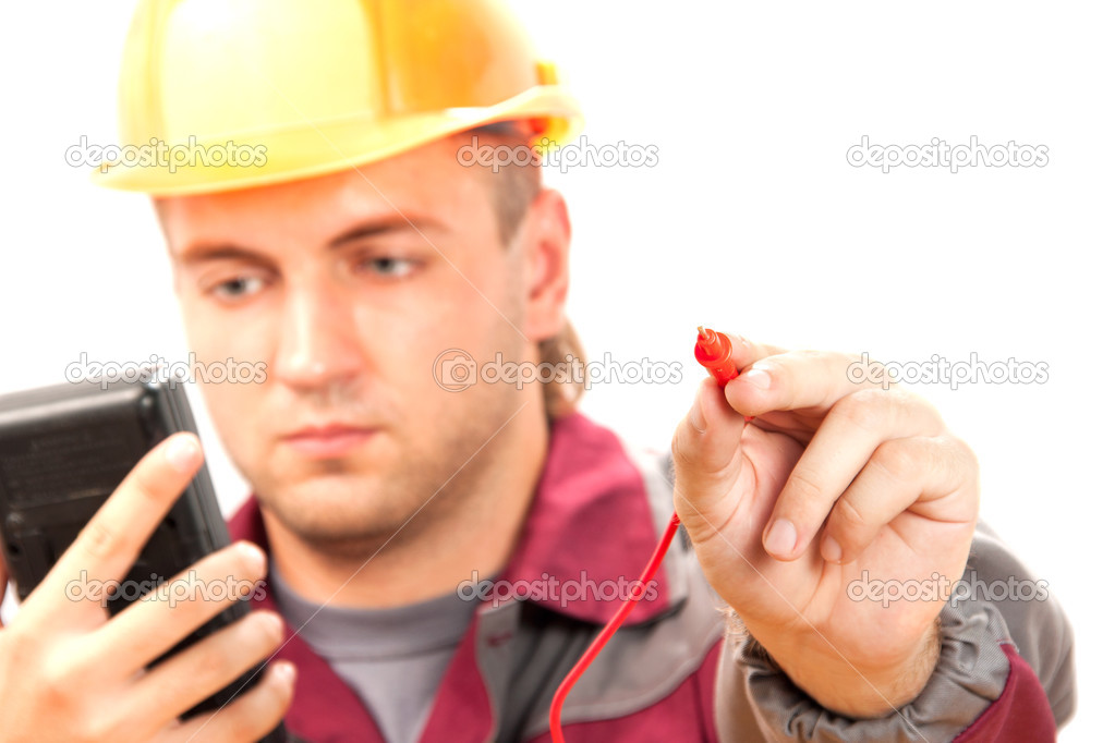 Electrician at work. Isolate on white — Stock Photo #3605742