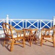 Sea view table and chairs — Stock Photo