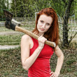 Woman with axe — Stock Photo