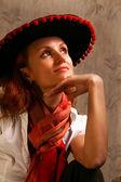 Mulher de chapéu — Fotografia Stock