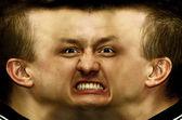 Schizophrenia. Panorama face — Stock Photo