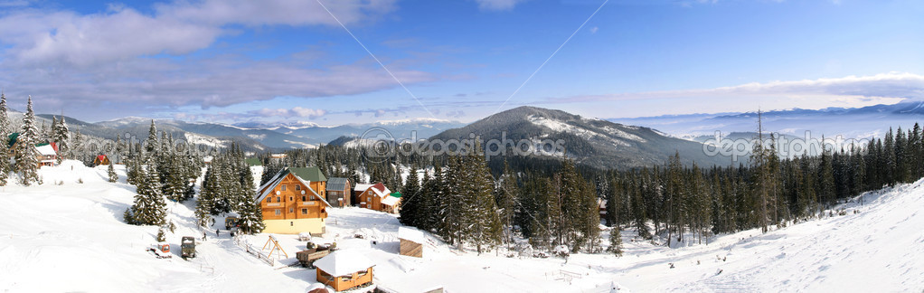 Ski chalet in mountain village — Stock Photo #3864667
