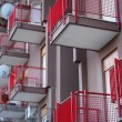 Red balconies — Stock Photo