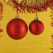 Royalty-Free Stock Photo: Two red Christmas Baubles
