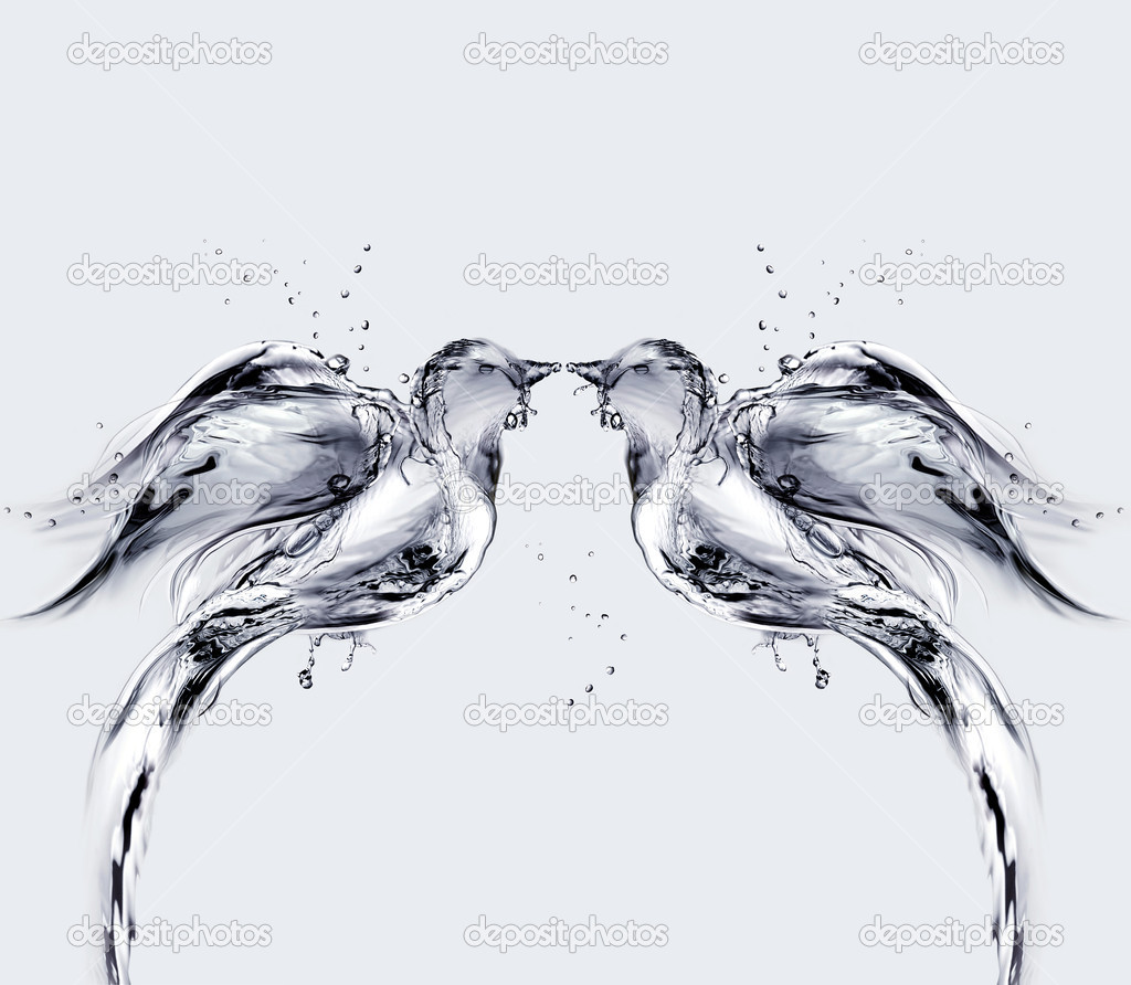 Two birds made of water kissing. — Stock Photo #3422373