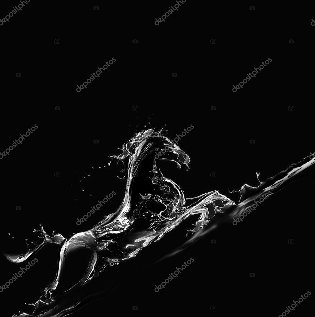 A silhouette of a running horse made of water on black background galloping upwards.  Stock Photo #3476235