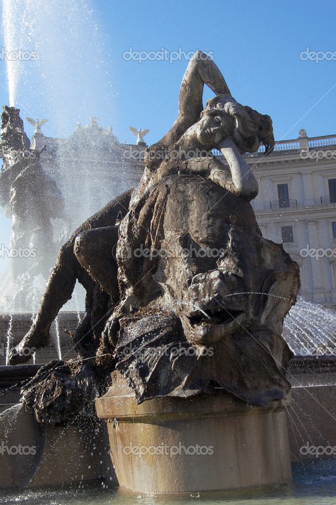 Detail of fountain in Piazza della Republica in Rome  Stock Photo #2788079