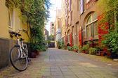 Romantic street view in Amsterdam — Stock Photo