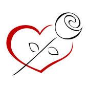 Rosa sul cuore. vector — Vettoriale Stock