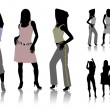 Silhouettes of dancing girls — Imagen vectorial