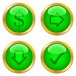 Green buttons for web — Stock Vector